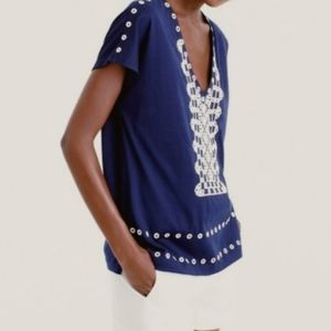 J.Crew Women Eyelet V-neck T-Shirt